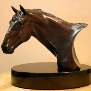Bronze Sculpture Bust Portrait of Olympic Horse Albany