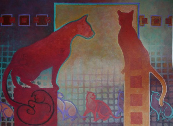 Acrylic painting of cats