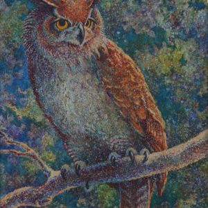 Watercolor of Great Horned Owl