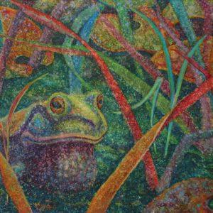 Watercolor painting of bullfrog in reeds