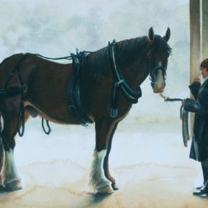 Watercolor painting of driving horse and groom