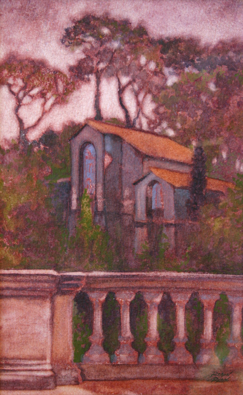 Watercolor of buildings in Borgesse park, in Rome, Italy