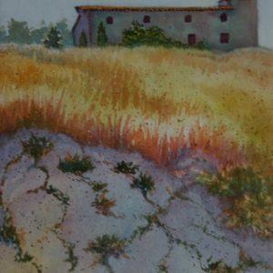 Watercolor of Fort in Cortona, Italy