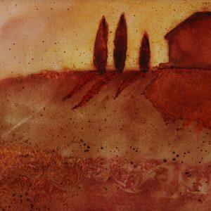 Watercolor painting of Tuscan horizon