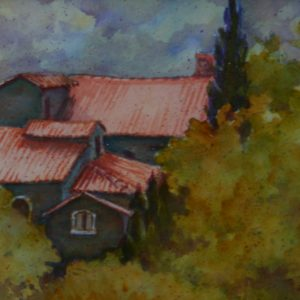 Watercolor of Italian Villa Roof from distance
