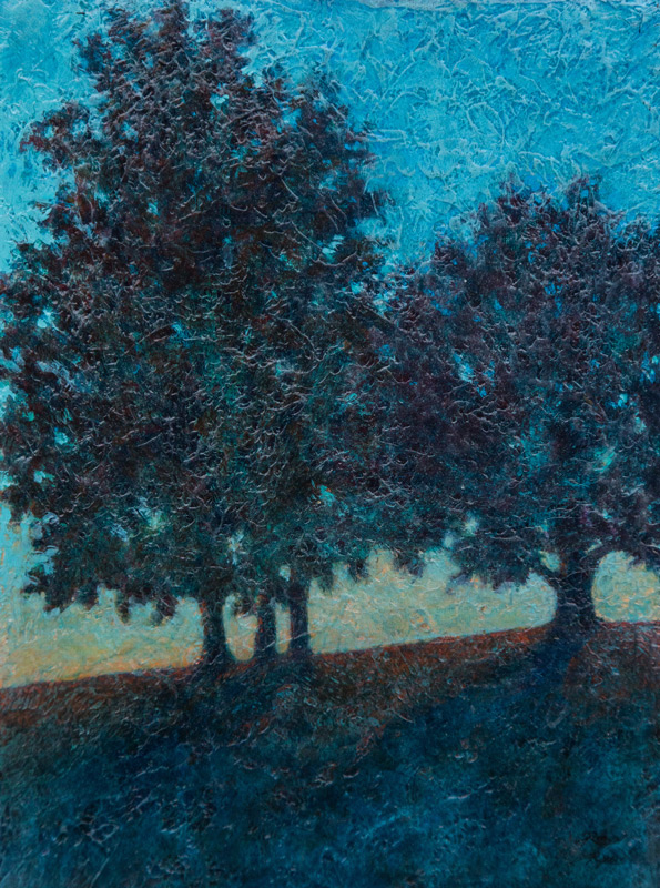 Acrylic painting of sillouetted trees on hillside