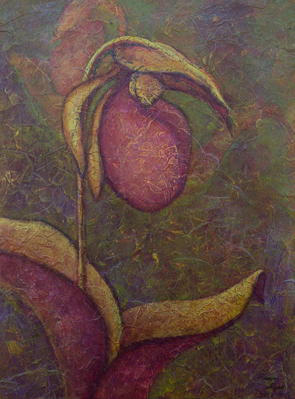 Acrylic painting of Lady Slipper by artist Robyn Ryan