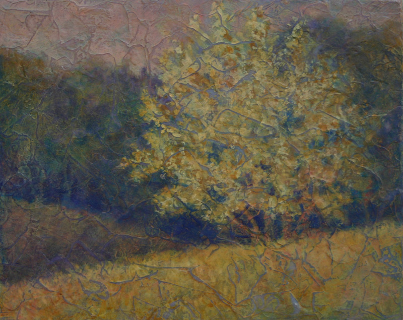 Acrylic layers painting of river birch in field