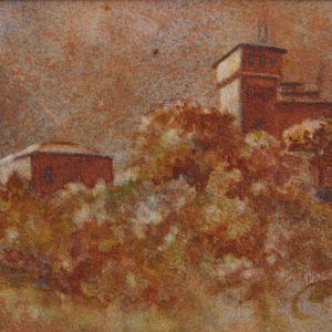 Watercolor of tuscan villa