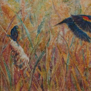 Red Winged Black Birds Watercolor Painting by Robyn Ryan