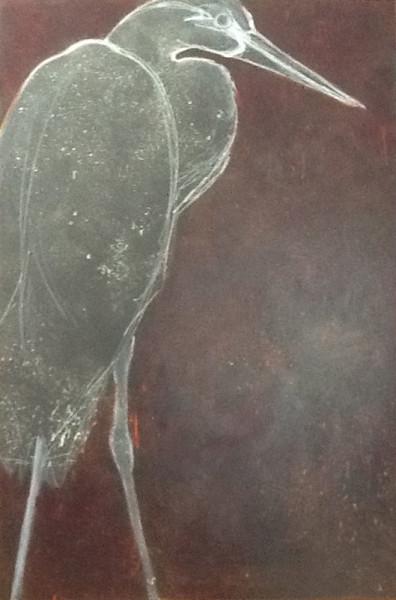 Stage I of Artist Robyn Ryan's Heron II painting