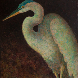 VA Artist Robyn Ryan Acrylic Layers Painting of Great Blue Heron