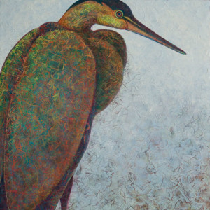 VA Artist Robyn Ryan Acrylic Layers Painting of Heron