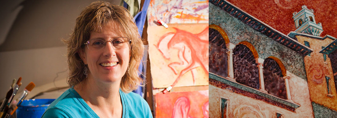 VA Artist Robyn Ryan in Studio with paintings