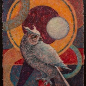 VA Artist Robyn Ryan Acrylic Layers Painting of young Great Horned Owl