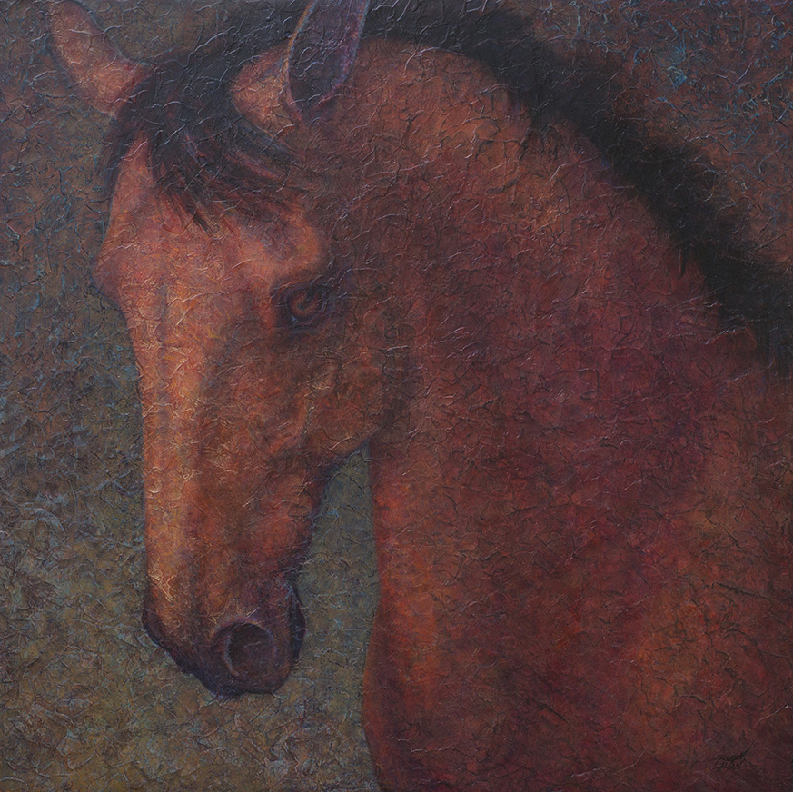 Presence - Acrylic Layers equine painting by VA artist Robyn Ryan