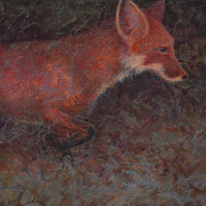 Running for Cover - Acrylic Layers fox painting by VA artist Robyn Ryan