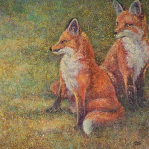 """Fox Kits"" Acrylic Layers Painting by VA Artist Robyn Ryan"