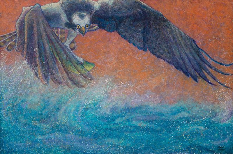 """Osprey II"" Acrylic Layers Painting by VA Artist Robyn Ryan"