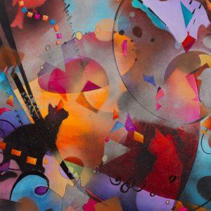 """Feline Circus"" 30"" x 22"" Mixed Media by Artist Robyn Ryan"