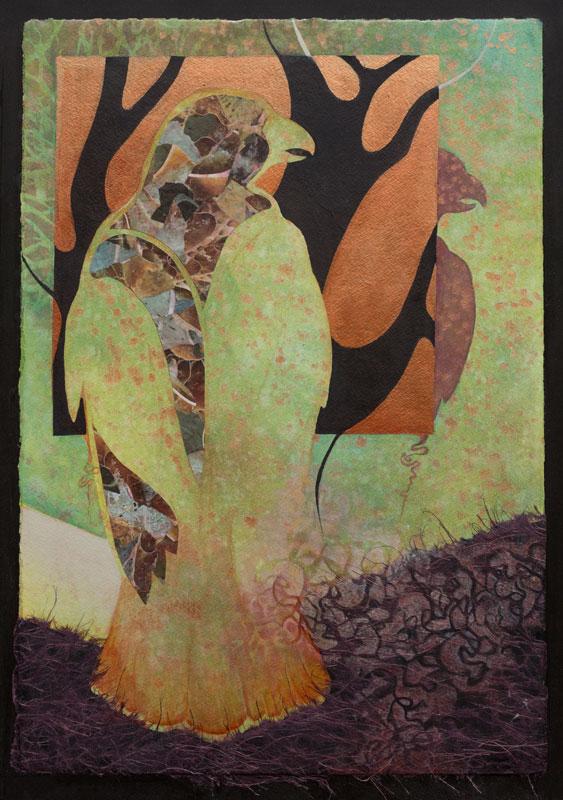 """""""Woodland Echo I"""" 24"""" x 18"""" Mixed Media Collage by Artist Robyn Ryan"""