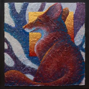 """Woodland Watcher IV"" 18"" x 18"" Acrylic Layers on Paper by Artist Robyn Ryan"