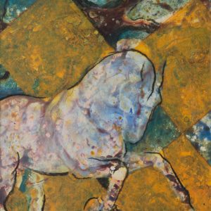 """""""Equine Muse - Checkerboard Gallop"""" 12"""" x 9"""" Mixed Media by Artist Robyn"""