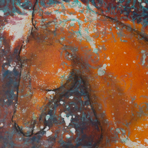 """""""Equine Muse - Rearing"""" 12"""" x 9"""" Mixed Media by Artist Robyn Ryan"""