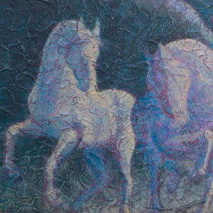 """Gallop III"" 12"" x 24"" Acrylic Layers by Artist Robyn Ryan"