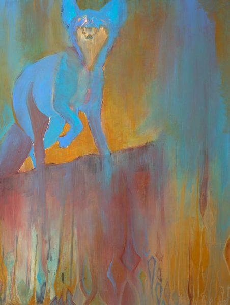 """""""Ghost Fox I"""" 25"""" x 19"""" Acrylic on Yupo by Artist Robyn Ryan"""