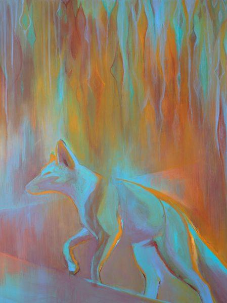 """""""Ghost Fox II"""" 25"""" x 19"""" Acrylic on Yupo by Artist Robyn Ryan"""
