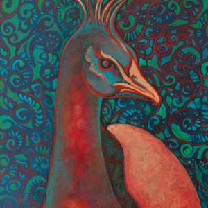 """Paisley Peacock"" 12"" x 9"" Acrylic by Artist Robyn Ryan"