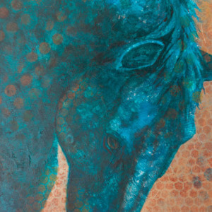 """""""Equine Muse - Blue Arch"""" 12"""" x 9"""" Mixed Media by Artist Robyn"""