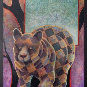"""The Three Bears ~ Baby Bear"" 22"" x 15"" Collage Painting by Virginia Artist Robyn Ryan"