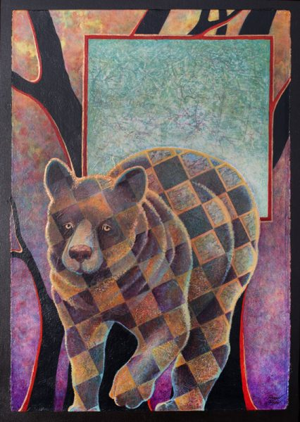 """""""The Three Bears ~ Baby Bear""""  22"""" x 15"""" Collage Painting by Virginia Artist Robyn Ryan"""