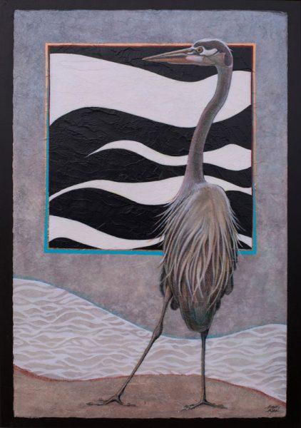 """Heron VI"" 22"" x 15"" Acrylic Layers painting by Virginia Artist Robyn Ryan"