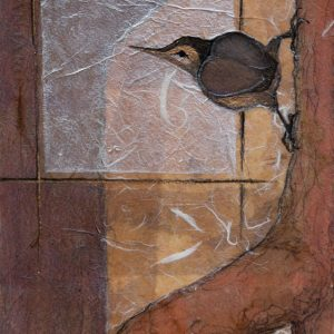 """""""Nuthatch Study II"""" """" 11"""" x 8"""" Collage painting by Virginia Artist Robyn Ryan"""