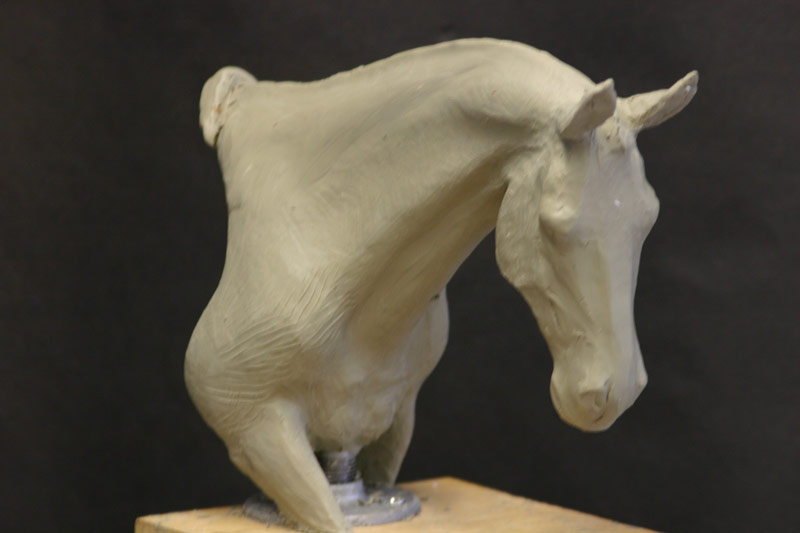 Horse head sculpture oil based clay original