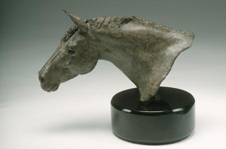Bronze horse head bust
