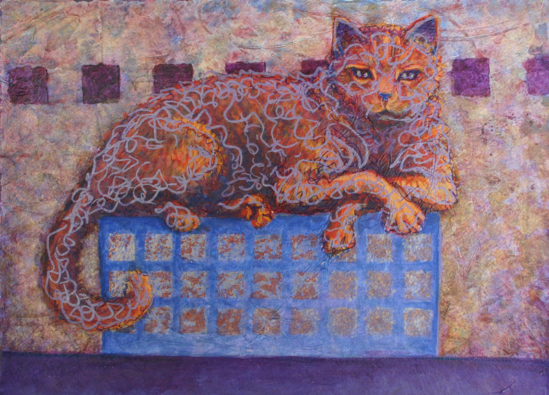 Cat resting on box mixed media painting