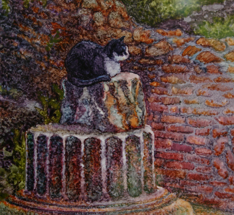Watercolor of cat with Roman ruins