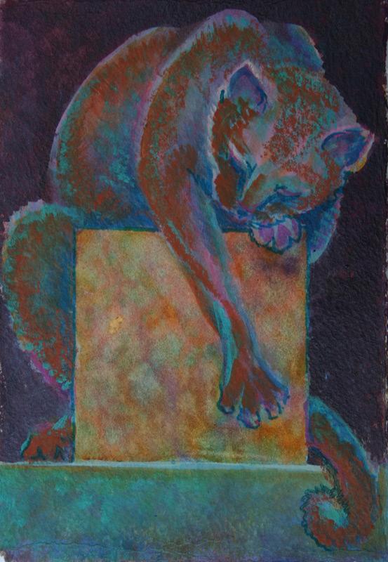 Watercolor, cat draped over box
