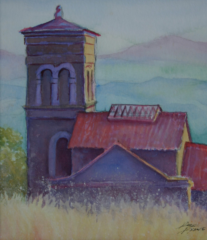 Watercolor of Italian Monastary by VA artist Robyn Ryan
