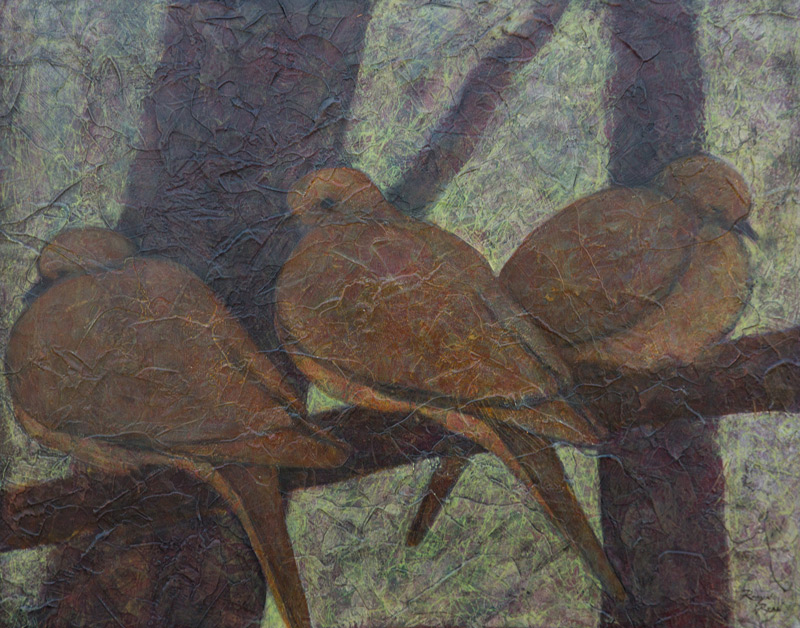 Acrylic painting of three doves sitting on branch