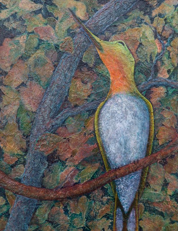 Acrylic painting of hummingbird on branch