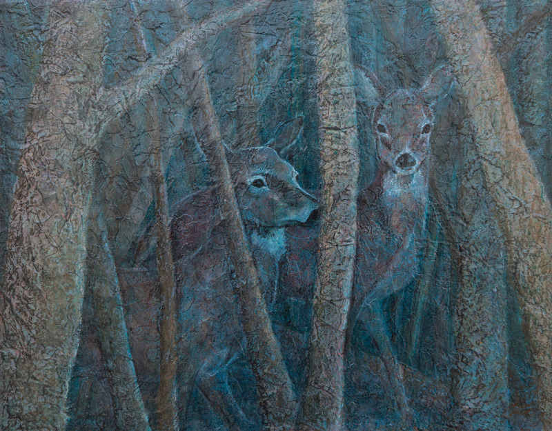 Mixed Media painting of two deer in woods