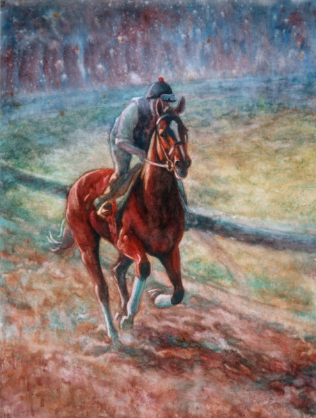Watercolor painting of race horse