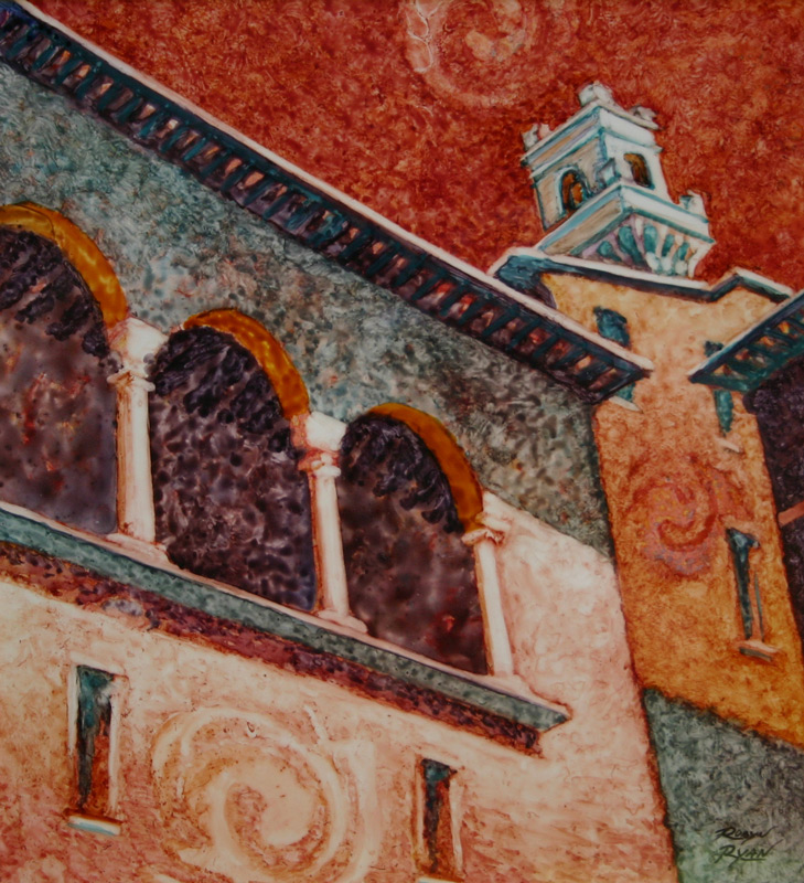 Watercolor of buildings in Montelpuciano, Italy
