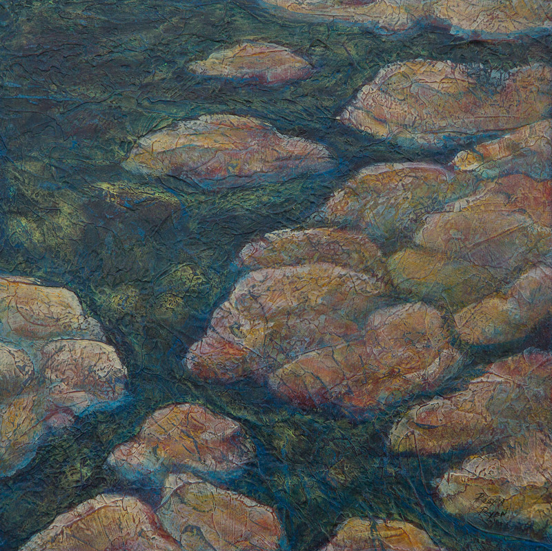 Acrylic layer painting of rocks and stream