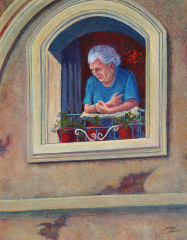 Acrylic painting of woman watching from upstairs window